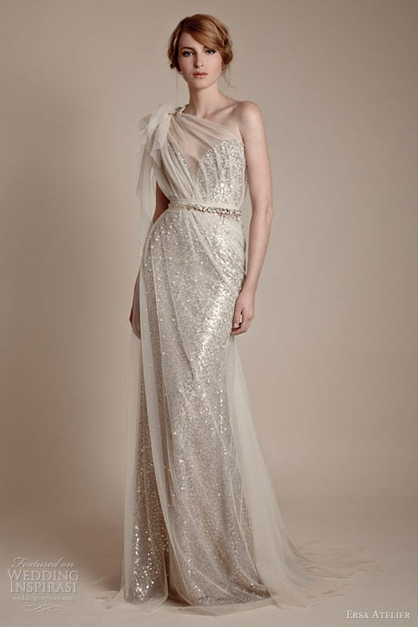 ersa atelier 2013 one shoulder tulle over sequin column gown
