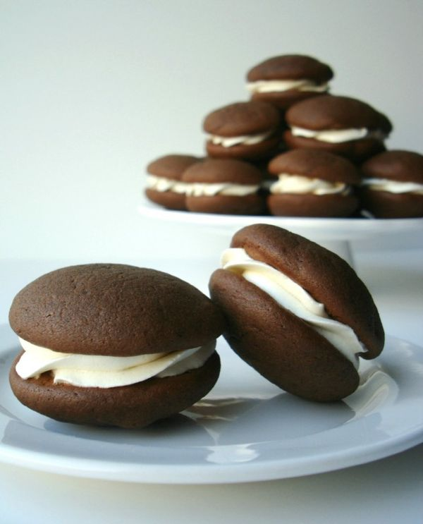 Chocolate Whoopie Pies with Buttercream Frosting.