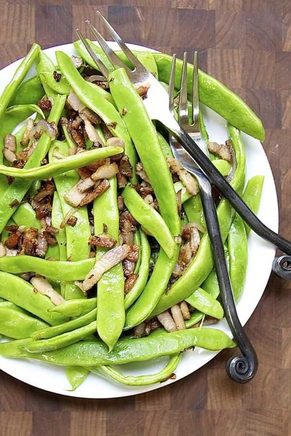 Romano Beans with Shallots and Bacon