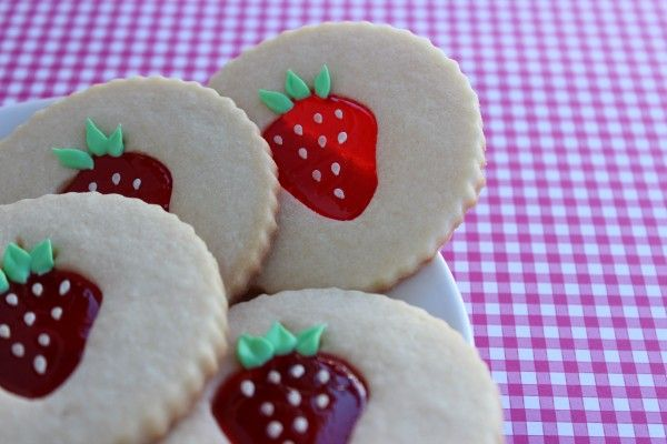 Strawberry stained glass cookies