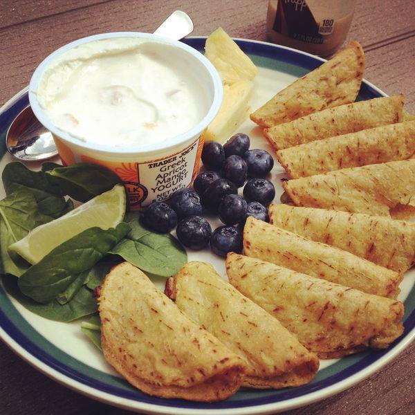 Yogurt, mini tacos, berries, and salad