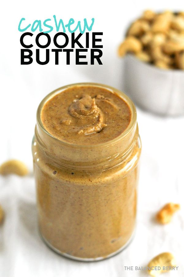 Easy homemade cashew butter that tastes reminiscent of cookie butter. Your new favorite nut butter! | thebalancedberry.com #vegan #paleo