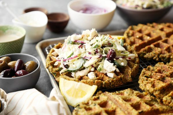 Falafel Waffles with a Mediterranean Slaw - The Candid Appetite