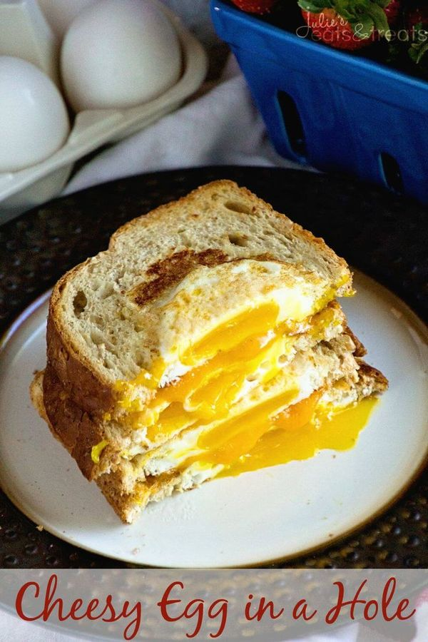 Cheesy Egg in a Hole ~ Delicious Breakfast Sandwich Recipe! Quick and Easy Eggs in a Piece of Toast with Cheese Sandwich Between them! ~ http://www.julieseatsandtreats.com