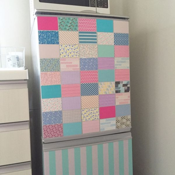 irohaさんの、マグネット,マグネットシート,冷蔵庫,冷蔵庫リメイク,マスキングテープ,マステ,キッチン,のお部屋写真