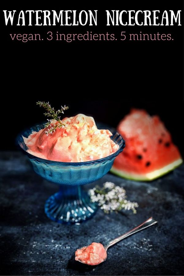Watermelon nicecream. Just 3 ingredients, ready in 5 minutes (if you have frozen watermelon ready ;) )
