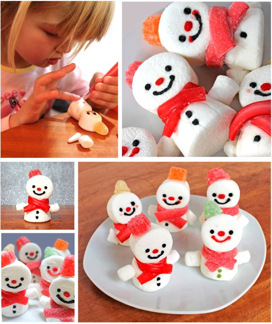 Christmas snowman marshmallow treats tutorial. Candy hats and red liquorice scarves! https://happythought.co.uk/craft/make-marshmallow-snowmen