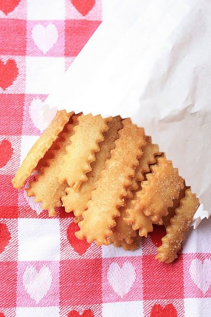 Pie Fries:  Cut pie crust into strips w/ fluted pastry wheel.   Brush w/ melted butter.  Sprinkle w/ cinnamon sugar.  Bake at 375  about 15 minutes.  Eat