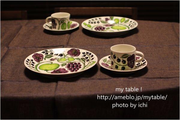 パープルパラティッシに合わせたシックなテーブルクロス|my table !