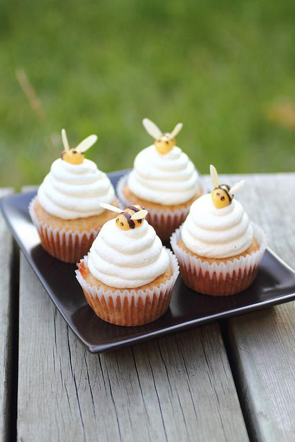 Honey Beehive Cupcakes. A summer cupcake project. These are walking the line of being too cutesy. Plus, I don't like marzipan. I'd like to make tiny bees with it, just not eat it.