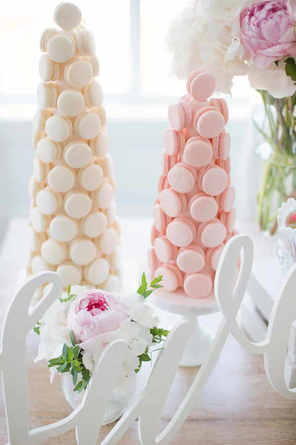 Macaron Towers  | Garden Wedding Party | http://monikahibbs.com