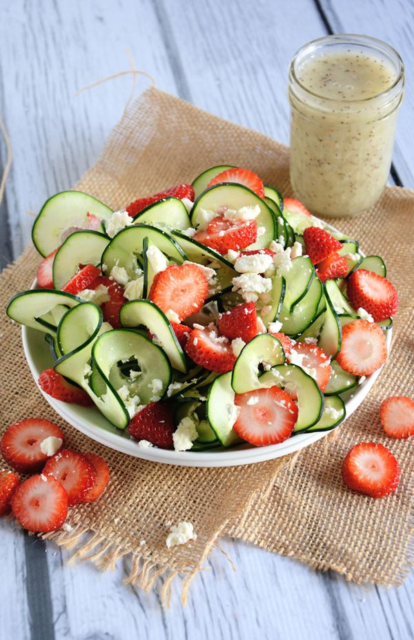 This Cucumber + Strawberry Salad is refreshing and crisp.
