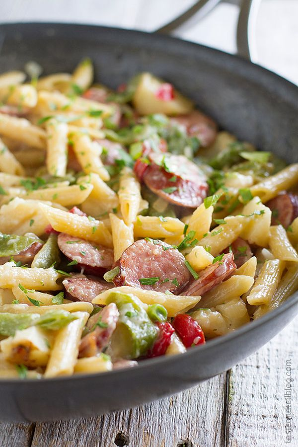 Skillet Pasta with Sausage - Short on time? This easy pasta dish is made in one pan and is ready in no time at all.