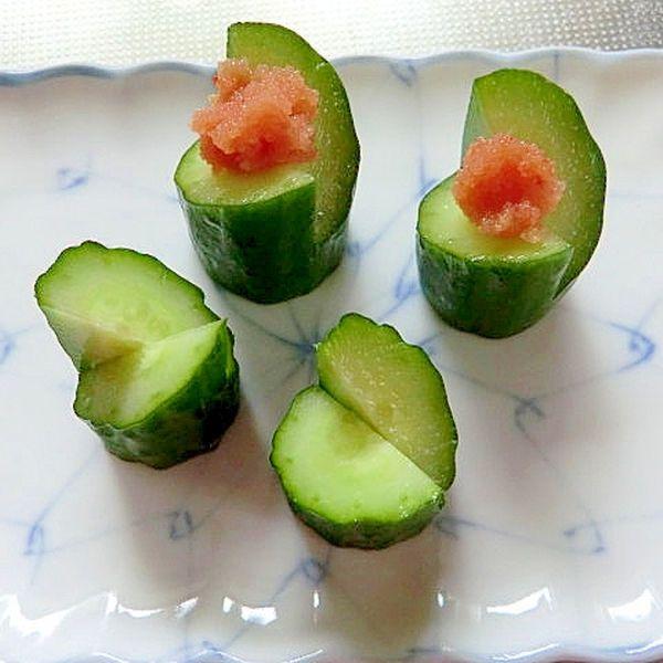 おしゃれな飾り切りきゅうりの明太子乗せ レシピ・作り方 by tamagoyasann 楽天レシピ