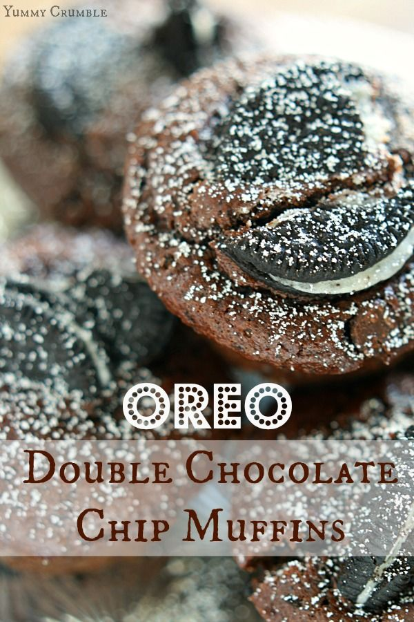 OREO DOUBLE CHOCOLATE CHIP MUFFINS Rich dark chocolate and Oreo cookies married with a soft and fluffy muffin. Make your mornings sweet with these Oreo Double Chocolate Chip Muffins.