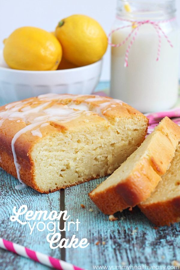 Lemon Yogurt Cake Moist, decadent lemon cake made with Greek yogurt and soaked with a lemon-sugar mixture to make it extra moist and extra lemony!