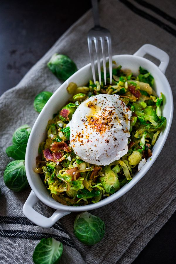 Feasting at Home : Brussel Sprout Hash w/ Soft Poached Eggs and Aleppo Chili Pepper