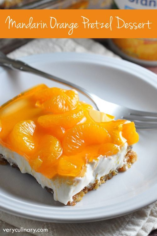 This classic dessert features a crunchy pretzel crust, a creamy center, and silky top with mandarin oranges and orange flavored gelatin. Perfect for a summer luncheon! AD DoleCannedFruit @DolePackaged