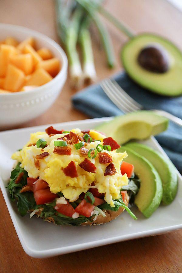 6. Open-Faced Bagel Breakfast Sandwich #healthy #recipes http://greatist.com/health/healthy-single-serving-meals