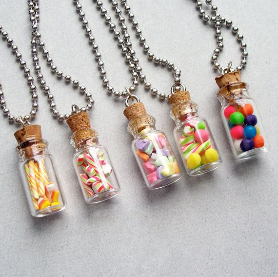 Holiday Treat Jar Pendant Necklace - polymer clay miniature food jewelry on Etsy, £12.09