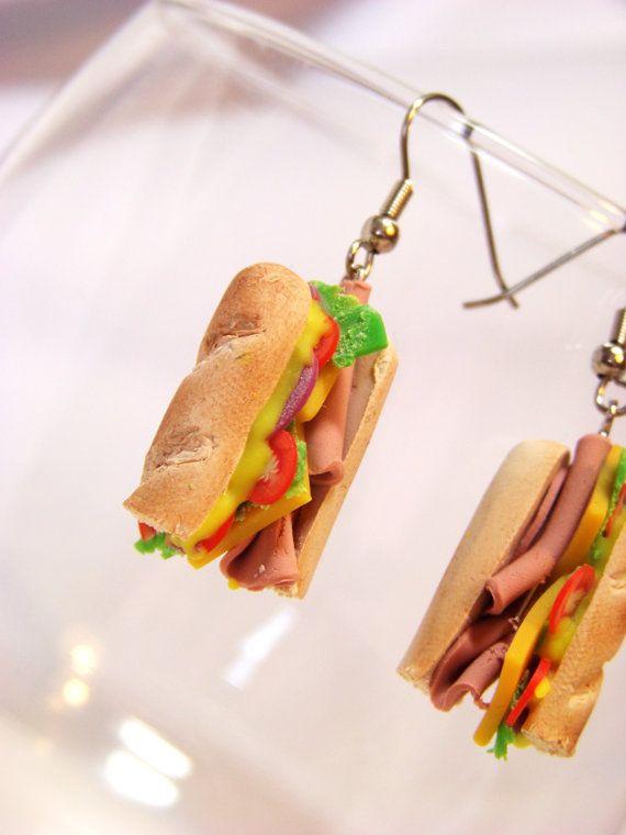 Miniature Food Earrings Food Jewelry Sub Sandwich