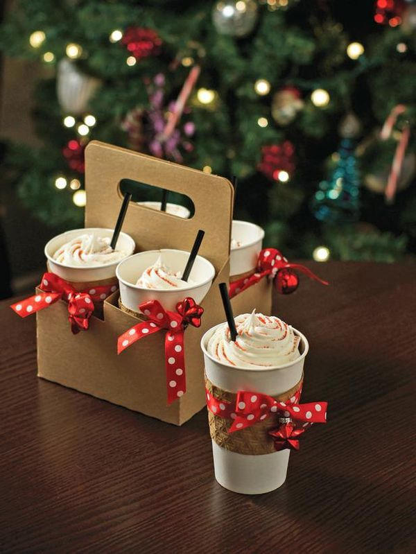 Coffee Cupcakes To-Go:  Bake coffee-flavored cupcakes in paper to-go cups then top with rich homemade frosting and dash of nutmeg, cinnamon or sprinkles for a morning pick-me-up lookalike that is sure to hit the spot any time of the day.  http://www.hgtv.com/handmade/25-homemade-holiday-food-gift-recipes/pictures/index.html?soc=pinterest