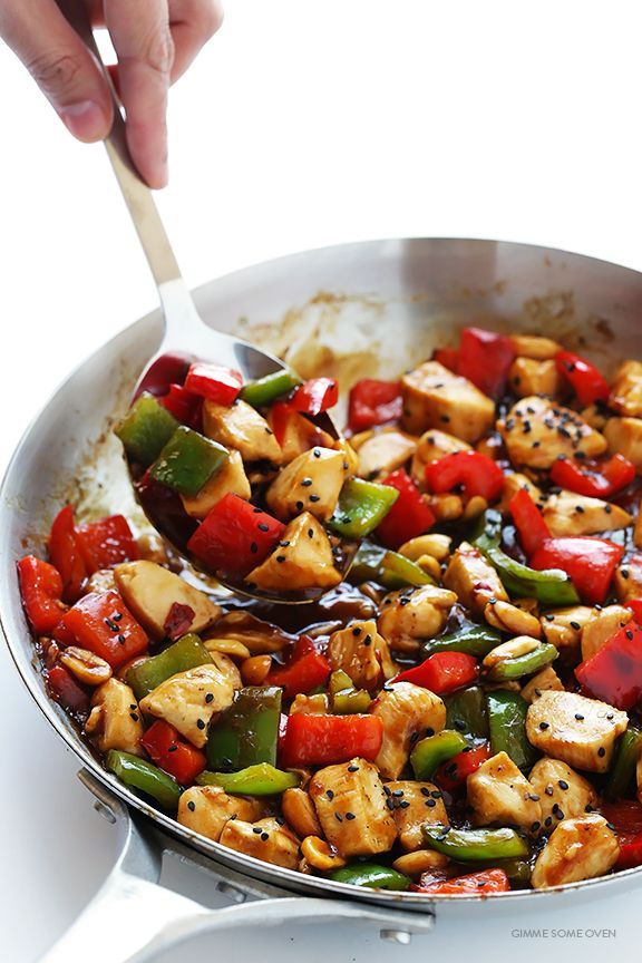 Kung Pao Chicken -- quick and easy to make homemade, plus this version is naturally sweetened with honey | gimmesomeoven.com
