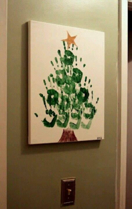 Hand painted Christmas Tree craft for kids to do.