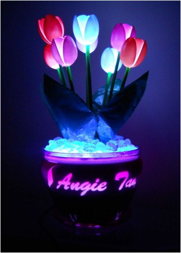 Glowing Plastic Spoon Tulips by homemadediycrafts