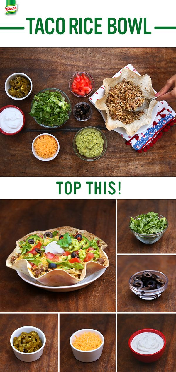 The best recipes are easy to follow, family friendly, & delicious. Make Knorr's Taco Rice Bowl as a new favorite Latin inspired supper food. 1. Season ground beef with salt and brown in a nonstick skillet. 2. Add water, Knorr® Fiesta Sides™ - Mexican Rice, and cook. 3. Scoop mixture into homemade tortilla bowl, atop lettuce, cheese & tomato. Serve w/ your favorite taco toppings: guacamole, sliced pickled jalapeños, & sour cream. Enjoy!
