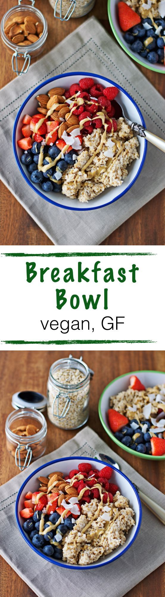 Quick and easy, #vegan and #glutenfree Breakfast Bowl. My personal favorite: oats cooked in coconut milk with a hint of maple, fresh berries and almonds. Sprinkled with nut butter and coconut flakes.