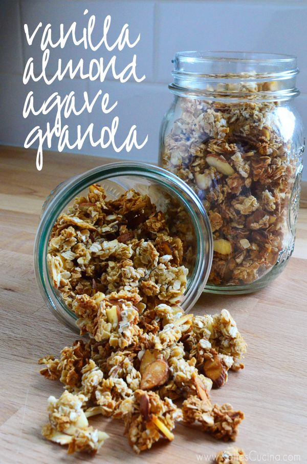 4 Ingredient Vanilla Almond Agave Granola from KatiesCucina.com @Katie Jasiewicz