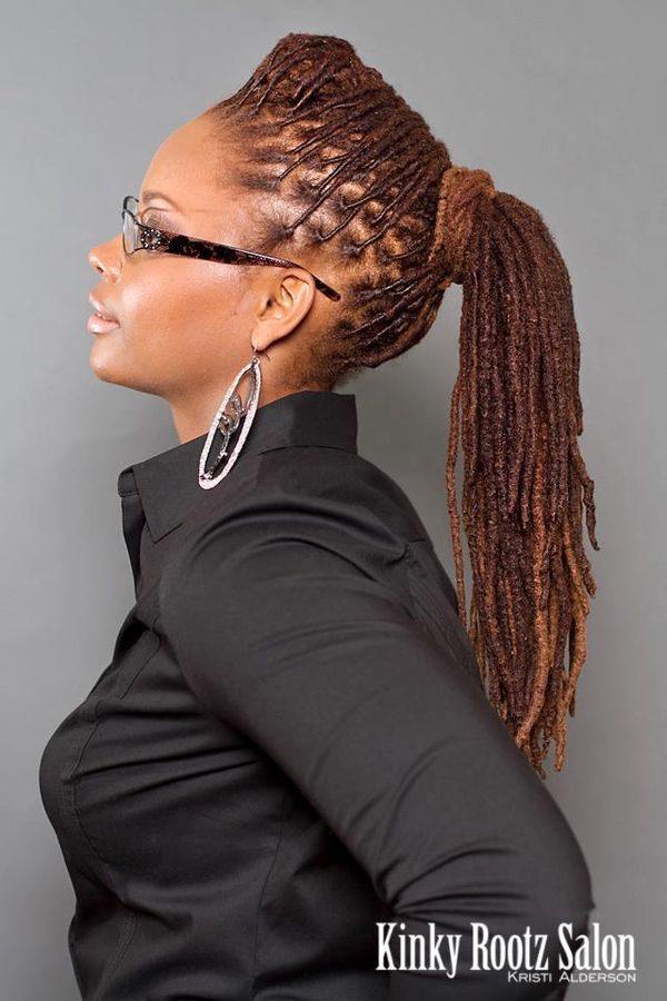 Polished ponytail locs hairstyle