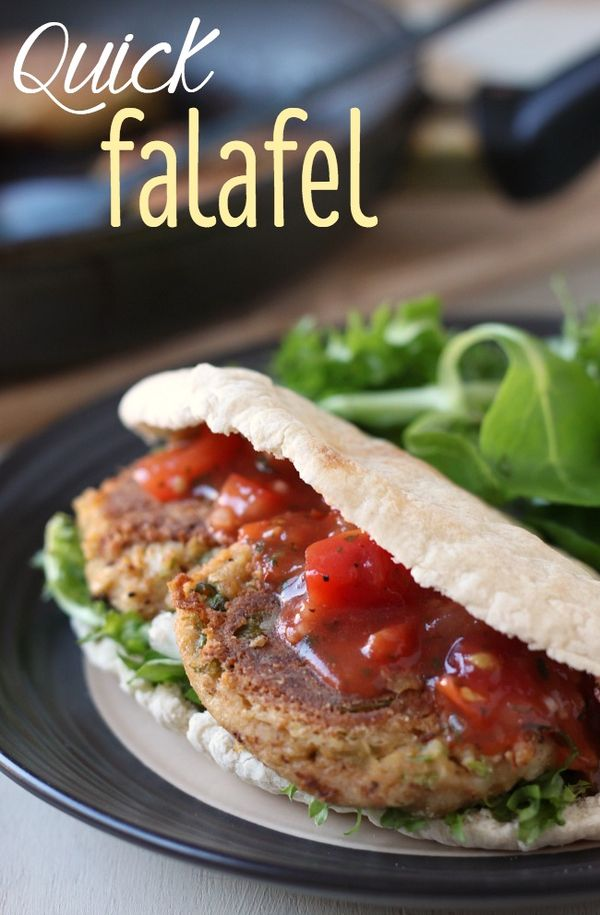 Quick falafel - these can be on the table in 20 minutes! And they're much softer and moister than most falafel.