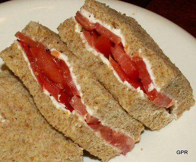 Tomato Tea Sandwiches    Tomato tea sandwiches are an old English custom, right up there with cucumber tea sandwiches. Flavorful, and definetely not soggy.
