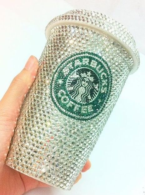 Blinged Starbucks cup Perfect for us!!!  internationalprom:    Anyone need some Starbucks right now? In this cup of course you do!