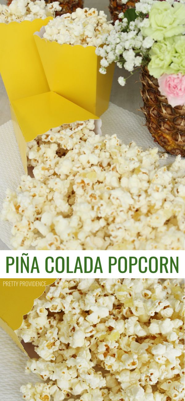 This Piña Colada Popcorn is AMAZING. 4 ingredients and BEYOND delicious!