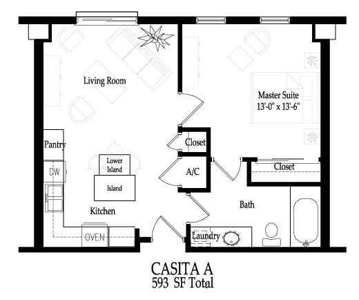 Small house floor plan- square footprint lends itself to mini-villa - new basic blueprint examples