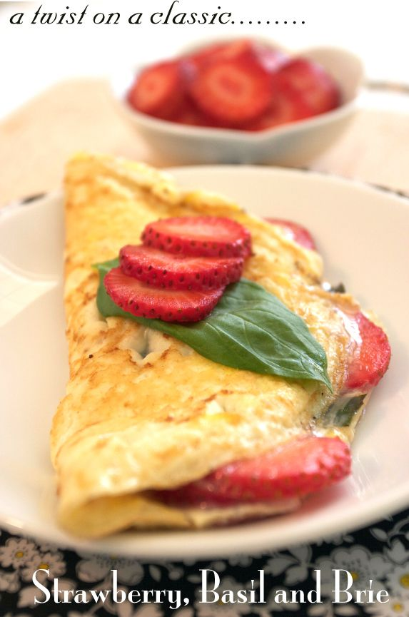 Brie, basil, and strawberry omelette