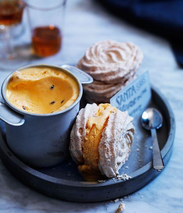 Toasted coconut meringue sandwiches with passionfruit ice-cream recipe | Dessert recipe - Gourmet Traveller