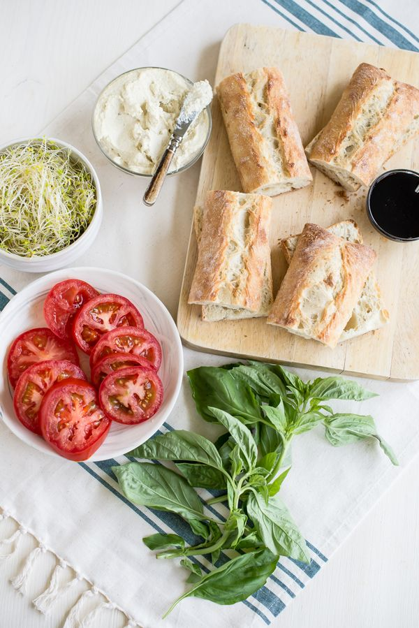 Vegan Caprese Sandwiches with Garlic Cashew Cheese Ingredients from @Oh My Veggies