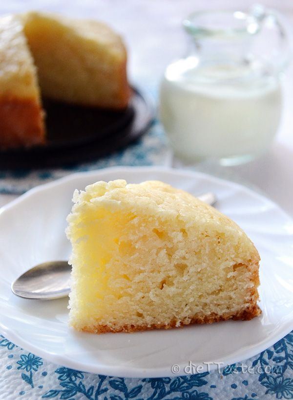Eggless Cake - easy no-egg and no-butter sponge cake, base of many desserts, suitable for vegetarians and vegans - diettaste.com