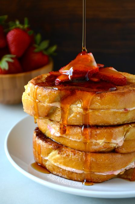 Strawberry Cheesecake Stuffed French Toast #recipe from http://www.justataste.com