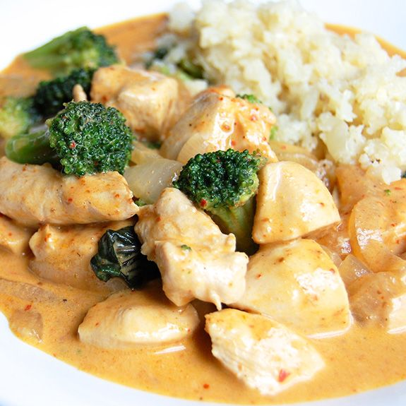 Chicken Panang Curry- a mildly spicy Thai curry, similar to red curry but a little richer and a little less spicy. Love it!