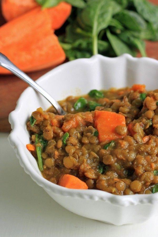 Lentil Sweet Potato & Spinach Stew is a filling and rich entree that is high fiber, high protein, dairy-free and gluten-free.