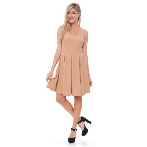 White Mark Women's 'Crystal' Fit and Flare Dress Beige 'Crystal' Dress - XL