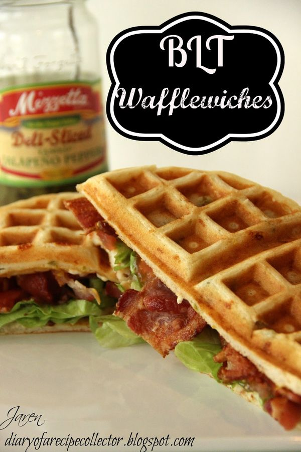 This was an easy weeknight supper I made the other night.  It came out really great!  I just used the Bisquik box waffle recipe, and I added shredded cheese and some jarred jalapenos to the batter.  I cooked them in my waffle iron and made a BLT-style sandwich.  I even think frozen waffles would be …