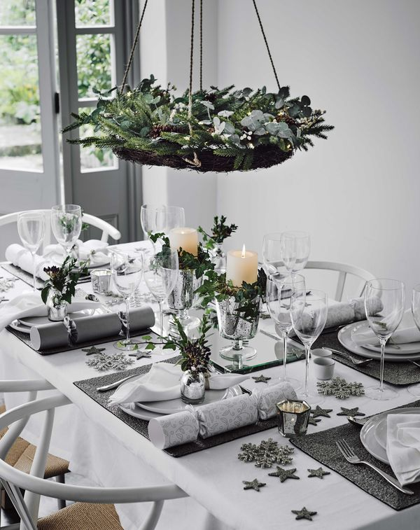 White, silver and grey palette for your Christmas dinner table http://www.redonline.co.uk/christmas/beautiful-ways-to-decorate-your-christmas-tablechristm