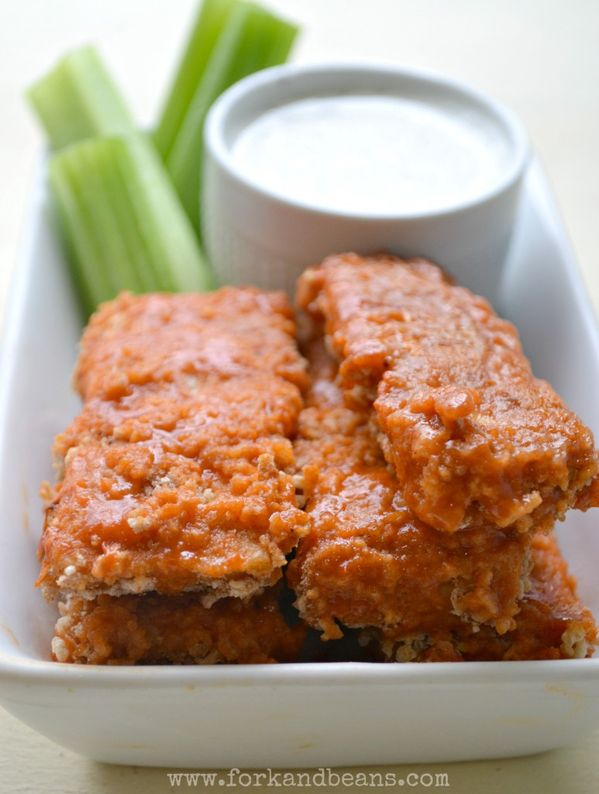 Baked Buffalo Tempeh Tenders Recipe    Gluten, egg, and dairy-free