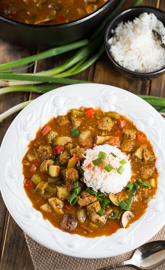 Vegetarian Gumbo made with a rich, dark roux and red beans, okra, bell peppers, and mushrooms.